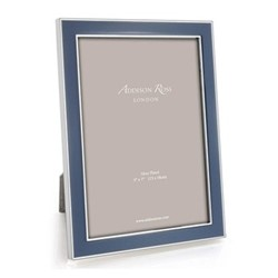 """Enamel Range Photograph frame, 4 x 6"""" with 15mm border, denim with silver plate"""