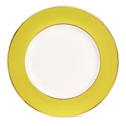 Border Dinner plate, 27cm, Crisp White With Yellow Border/Burnished Gold Edge