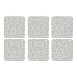 Pure Morris - Willow Bough Set of 6 square coasters, 10.5cm, grey/white