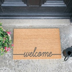 Welcome Doormat, L60 x W40 x H1.5cm, grey