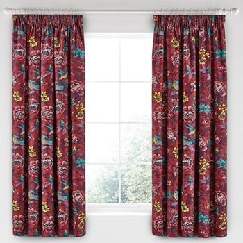 Oriental Peony Curtains, L183 x W168cm, berry