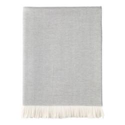 Herringbone Merino woven throw, 190 x 140cm, mist & white