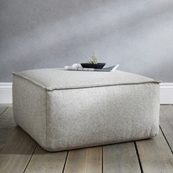 Luxury square pouffe, wool, H35 x W70 x L70cm, light grey wool