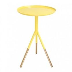Tripod table, H58cm x Dia37cm, bright yellow/brass