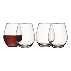 Wine Set of 4 stemless red wine glasses, 0.53 litre, clear
