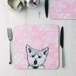 Westie Pair of tablemats, 23 x 23cm