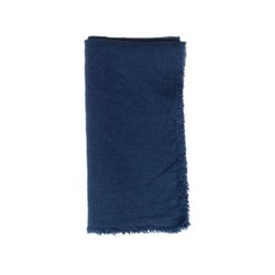 Lithuanian Set of 4 fringed napkin, 43.2 x 43.2cm, dark blue linen
