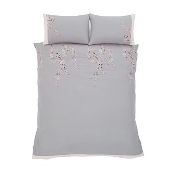 Embroidered Blossom King size duvet set, 220 x 230cm, grey