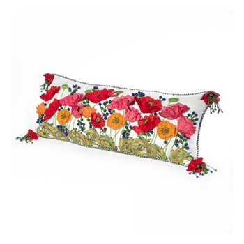 Red Poppy Lumbar pillow, W91.44 x L38.1cm, red&white&green