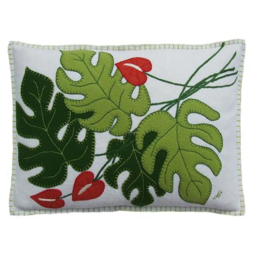 Tropical Cheese Plant Cushion, 48 x 35cm, cream
