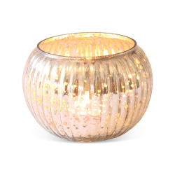 Globe Votive - large, 8 x 11cm, Gold Glass