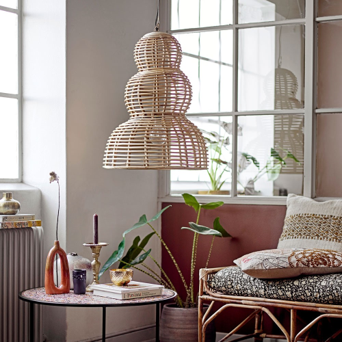 Fadil Pendant lamp, H77 x D54cm, Beige/ Natural