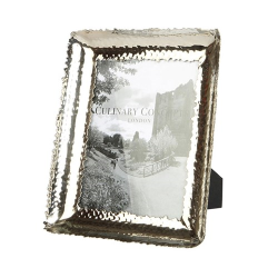 """Champagne Hammered Photograph frame, 6 x 8"""", Stainless Steel And Glass"""