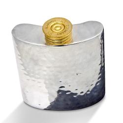 Cartridge Hip flask - small, 8 x 7.5cm, Silver Plate