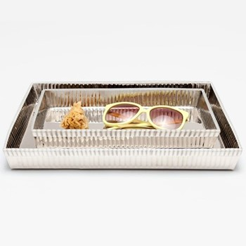 Redon Pair of trays, shiny nickel