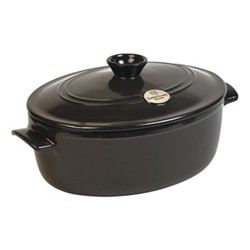 Oval casserole with lid, 34 x 27 x 19cm -  6.0 Litre, charcoal