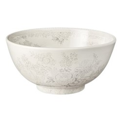 Dove Grey Asiatic Pheasants Medium footed bowl, 20cm, grey/white