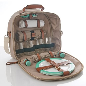 Canvas 4 person picnic carry all, W39 x D16 x H40cm