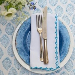 Scalloped Edge Napkin, 45 x 45cm, blue cotton