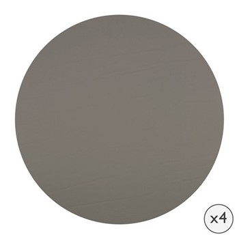 Set of 4 round leather coasters, D10cm, taupe