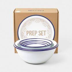 Enamel prep set, White With Blue Rim
