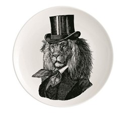 Dandy Lion Plate, Dia20cm, black/white
