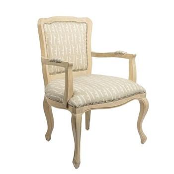 Paris Metro Fabric Armchair, W64 x D64 x H92cm, bleached white