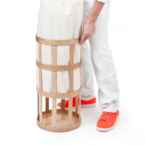 Laundry basket cage, H63 x W31 x D31cm, White/Oak