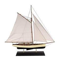 1930s Classic Yacht Yacht model, H90 x W15 x L90cm, ivory/black basswood/cotton
