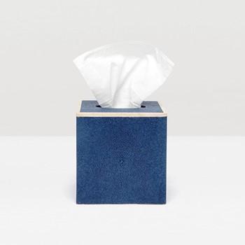 Manchester Tissue box, H14cm, navy faux shagreen