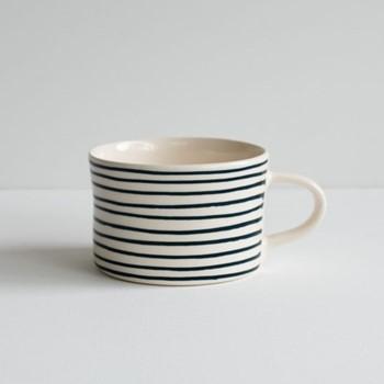 Horizontal Stripe Set of 6 mugs, H7 x W10.5cm, teal
