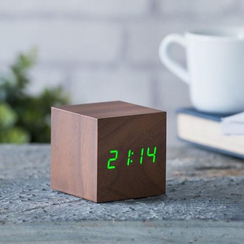 Cube Click Clock, L6.8 x W6.8 x H6.8cm, Walnut/Green