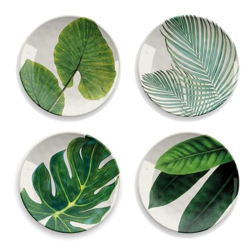 Amazon Floral Set of 4 melamine side plates, 22cm, green