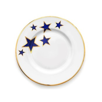 Lucky Stars Salad plate, 23cm, crisp white & cobalt blue/burnished gold edge