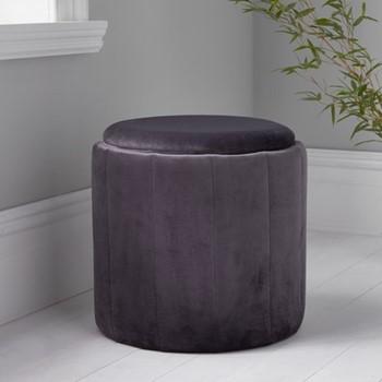 Round plush stool, L43 x W43 x D42cm, grey