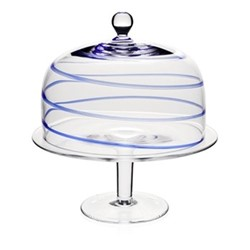 Studio - Bella Blue Cake stand and dome, 32cm, blue