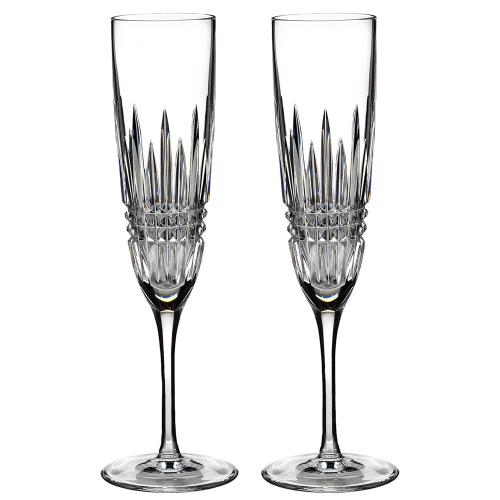 Lismore Diamond Pair of Champagne flutes