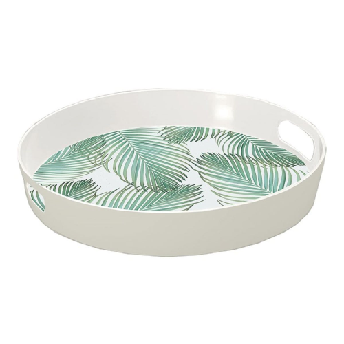 Amazon Floral Melamine tray, 40cm, White & Green