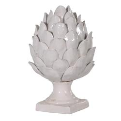 Artichoke on base, 34cm, off-white