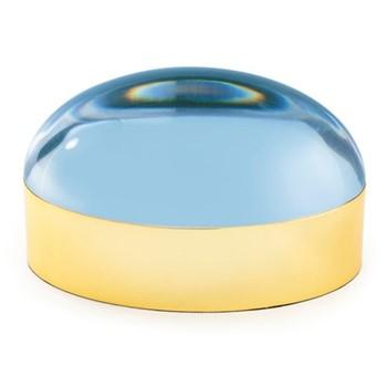 Globo Large box, W25.4 x D12.7 x H13.25cm, blue/polished brass