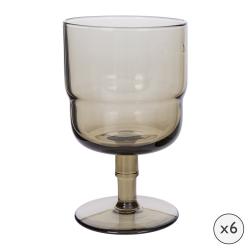 Drop Set of 6 wine glasses, H13.5 x W8 x L8cm, Cognac