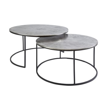 Taro Nested coffee tables, H40 x D80cm, silver/black