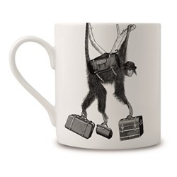 Monkey Business Mug, H9 x Dia 8cm, black/white