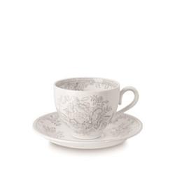 Dove Grey Asiatic Pheasants Tea saucer, 15cm, grey/white