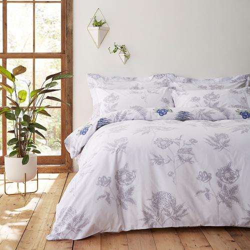 Botanical Super king size duvet set, 220 x 260cm, White/Blue