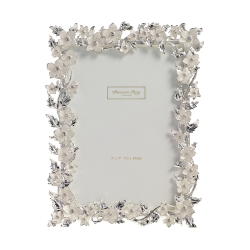 """Silver Leaf and Cream Flower Photograph frame, 4 x 6"""", white enamel with silver plate"""