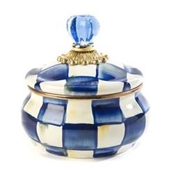 Royal Check Squashed pot, D12.7 x H13.97cm, blue & white