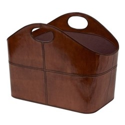 Curved magazine basket, H30 x W40 x D21cm, conker brown