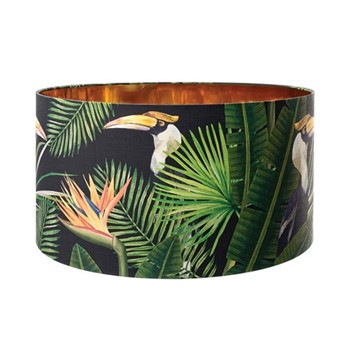 Birds of Paradise Large drum lampshade with metallic gold lining, H30 x L55 x W55cm, multi