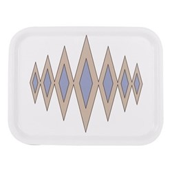 Diamond Rectangular tray, L36 x W28cm, truffle/cornflower blue